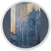 Rouen Cathedral, The Portal, Morning Round Beach Towel