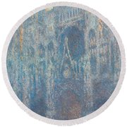 Rouen Cathedral, The Portal, Morning Light Round Beach Towel