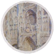 Rouen Cathedral, The Portal, Sunlight Round Beach Towel