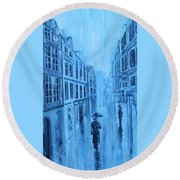 Rouen In The Rain Round Beach Towel