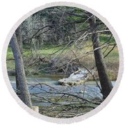 Rough River At Times  Round Beach Towel