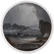 Rough Sea With A Steamer Near The Coast Of Norway Round Beach Towel