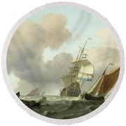 Rough Sea With Ships Round Beach Towel