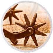 Rough Spurs - Sepia Round Beach Towel
