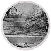 Rough Steps Up The Riverbank Round Beach Towel