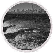Rough Water Round Beach Towel