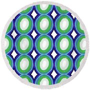 Round And Round Blue And Green- Art By Linda Woods Round Beach Towel