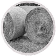 Round Hay Bales Black And White  Round Beach Towel by James BO  Insogna