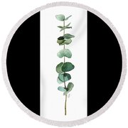 Round Leaf Eucalyptus Twig Round Beach Towel