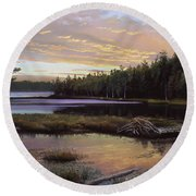 Round Pond Round Beach Towel