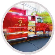 Round Top Vol. Fire Co. Inc. New York 7 Round Beach Towel