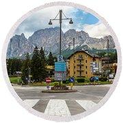 Roundabout Cortina D'ampezzo  Round Beach Towel