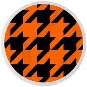 Rounded Houndstooth Black Pattern 03-p0123 Round Beach Towel