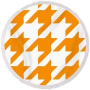 Rounded Houndstooth White Background 03-p0123 Round Beach Towel