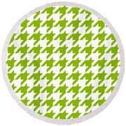 Rounded Houndstooth White Background 09-p0123 Round Beach Towel