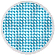 Rounded Houndstooth White Background 18-p0123 Round Beach Towel