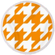 Rounded Houndstooth White Pattern 03-p0123 Round Beach Towel