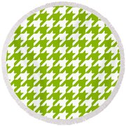 Rounded Houndstooth White Pattern 09-p0123 Round Beach Towel