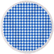 Rounded Houndstooth White Pattern 18-p0123 Round Beach Towel