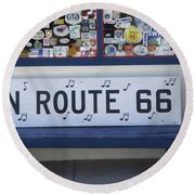 Route 66 Bench Round Beach Towel