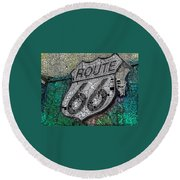 Route 66 Digital Stained Glass Round Beach Towel