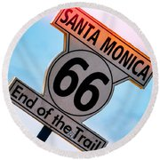 Route 66 End Of The Trail Round Beach Towel by Michael Hope