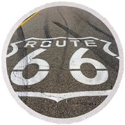Route 66 Highway Sign Round Beach Towel