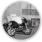 Route 66 Motorcycles Bw Round Beach Towel