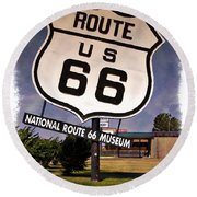 Route 66 Museum - Impressions Round Beach Towel