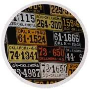 Route 66 Oklahoma Car Tags Round Beach Towel