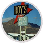 Route 66 - Roy's Of Amboy California 2 Round Beach Towel