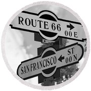 Route 66 Street Sign Black And White Round Beach Towel