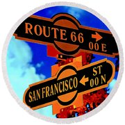 Route 66 Street Sign Stylized Colors Round Beach Towel