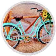 Route 66 Vintage Bicycle Round Beach Towel