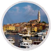 Rovinj Harbour Round Beach Towel