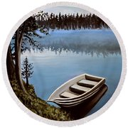 Row Boat In The Fog Round Beach Towel
