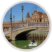Row Boating In Seville Round Beach Towel