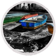 Row Boats At Mudeford Round Beach Towel