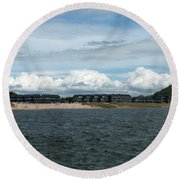 Row Of Clouds Round Beach Towel
