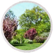 Row Of Flowering Trees Round Beach Towel
