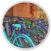Row Of Student Bikes At Princeton University Nj Round Beach Towel