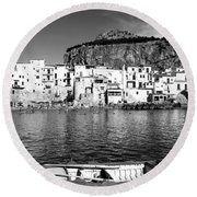 Rowboat Along An Idyllic Sicilian Village. Round Beach Towel