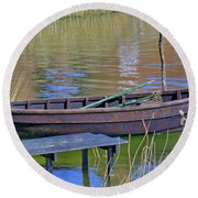 Rowboat And Blue Reflections Round Beach Towel
