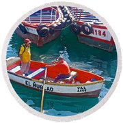 Rowboat In The Harbor At Port Of Valpaparaiso-chile Round Beach Towel