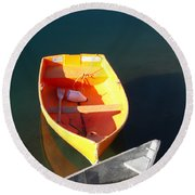 Rowboats In Rockport, Ma Round Beach Towel