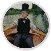 Rower In A Top Hat Round Beach Towel