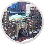 Rowes Wharf Building Round Beach Towel