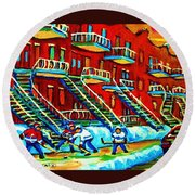 Rowhouses And Hockey Round Beach Towel