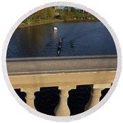 Rowinfg Towards The Weeks Bridge Charles River Harvard Square Cambridge Ma Round Beach Towel