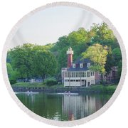 Rowing Along The Schuylkill River In Philadelphia Round Beach Towel